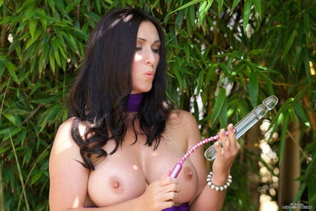 Miss Hybrid big tits, glass dildo and wet pussy outdoors.